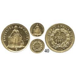Santiago, Chile, un peso, 1860.