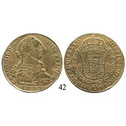 Bogotá, Colombia, bust 8 escudos, Charles III, 1773VJ.