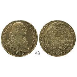 Bogotá, Colombia, bust 8 escudos, Charles IV, 1795JJ.