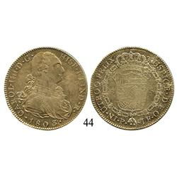 Popayán, Colombia, bust 8 escudos, Charles IV, 1803JF, lustrous XF with weak centers.