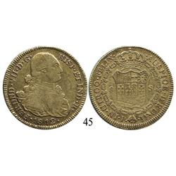 Popayán, Colombia, bust 8 escudos, Ferdinand VII (bust of Charles IV), 1812JF.
