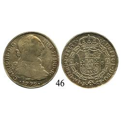 Popayán, Colombia, bust 4 escudos, Charles III, 1779SF.