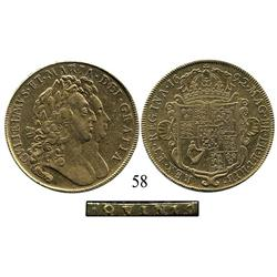 London, England, 5 guineas, William and Mary, 1692, QVINTO on edge.