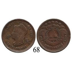 Honduras, copper pattern for gold 5 pesos, 1908/888.