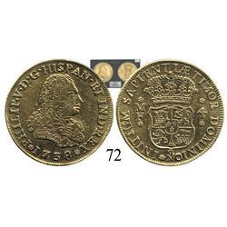 Mexico City, Mexico, bust 4 escudos, Philip V, 1738MF, plugged, VF.