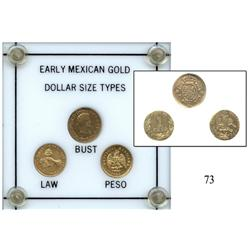 "Presentation set of ""EARLY MEXICAN GOLD DOLLAR SIZE TYPES"" in hard-plastic case:  ½ escudo 1816JJ ("""