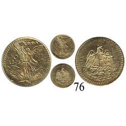 Mexico City, Mexico, 50 pesos, 1947 miniature reproduction in 8K gold.