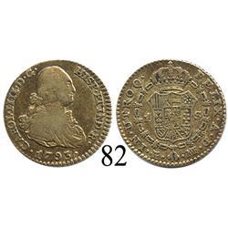 Madrid, Spain, bust 1 escudo, Charles IV, 1793MF.