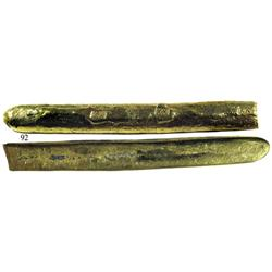 "Long gold bar #33, 20K, one end cut, from the ""Golden Fleece wreck"" (ca. 1550)."