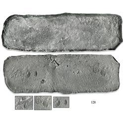 "Silver ""tumbaga"" bar #M-113, fineness 1400/2400 (58.3% pure), marked with four tax stamps (ca. 1528)"