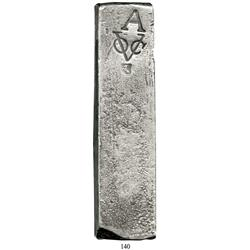 Neatly formed silver bar, marked with A (Amsterdam) and VOC (Dutch East India Co.) and billy goat (a