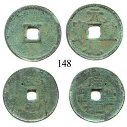"Lot of 2 Chinese bronze ""cash"" coins (small), Northern Zhou (ca. 580) and Northern Song (ca. 1000)."