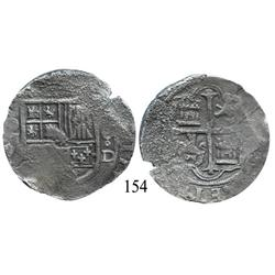 Mexico City, Mexico, cob 8 reales, Philip II or III, oM(F) to left, 8-oD, rare dual assayer.