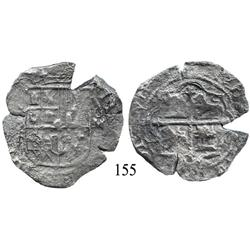 Mexico City, Mexico, cob 8 reales, Philip II or III, (8)-F to left, oM-oD to right, rare dual assaye