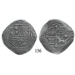 Mexico City, Mexico, cob 8 reales, Philip II or III, oMF, rare error with quadrants of cross transpo