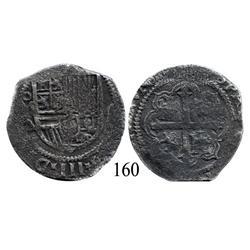 Mexico City, Mexico, cob 4 reales, Philip III, oMA, scarce.
