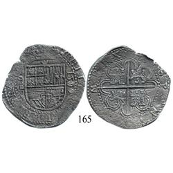 Seville, Spain, cob 8 reales, 1590/89, assayer Gothic P to left, rare.