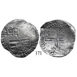 Potosí, Bolivia, cob 8 reales, Philip III, P-R (curved leg), Grade 2.