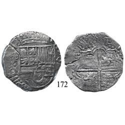 Potosí, Bolivia, cob 8 reales, Philip III, P-•/C-Q (unique), Grade 2.