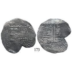 Potosí, Bolivia, cob 8 reales, Philip III, P-C (rare), Grade 1 (Grade-2 quality).