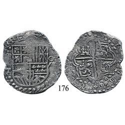 Potosí, Bolivia, cob 8 reales, 1620T, mintmark q/P, date at 5 o'clock, Grade 1.