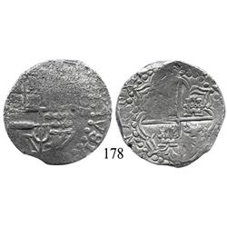 Potosí, Bolivia, cob 8 reales, Philip III or IV, assayer not visible, Grade 3 (Grade-2 quality).