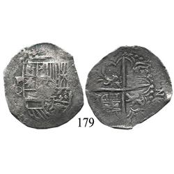 Potosí, Bolivia, cob 4 reales, Philip III, P-Q, quadrants of cross transposed (rare for this assayer