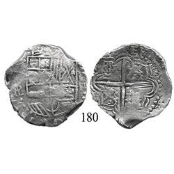 Potosí, Bolivia, cob 4 reales, (1)6(1)8PAL, rare assayer, Grade 1.