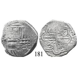 Potosí, Bolivia, cob 4 reales, Philip III or IV, P-T, Grade 2 (estimated).