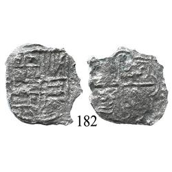 Potosí, Bolivia, cob 4 reales, Philip III or IV, assayer not visible, Grade 4.