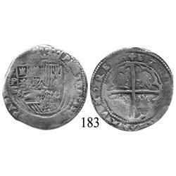 "Potosí, Bolivia, cob 2 reales, Philip II, P-B (1st period, ""Lima"" style), Grade 2."