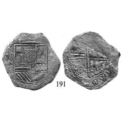 Cartagena, Colombia, cob 8 reales, Philip IV, RN to left, A to right (1622), very rare.