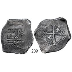 Mexico City, Mexico, cob 8 reales, Philip IV, (oMP), traces of canvas imprint on shield.