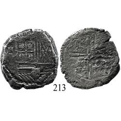 Cartagena, Colombia, cob 8 reales, Philip IV, NR-E to left (late 1620s), rare.
