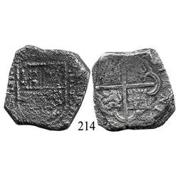 Cartagena, Colombia, cob 8 reales, Philip IV, C-E to right (early 1630s), rare.
