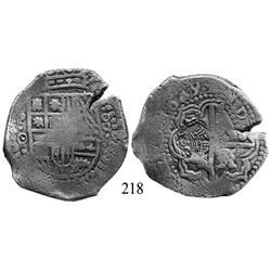 Potosí, Bolivia, cob 8 reales, 1649O, with pentagonal crowned-1652 countermark (rare) on cross.