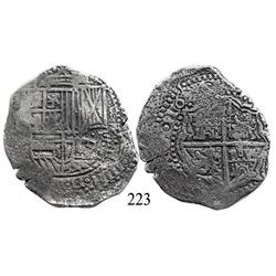 Potosí, Bolivia, cob 8 reales, 1651E, with crowned-•F• countermark (4-dot variety) on shield.