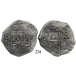 Potosí, Bolivia, cob 8 reales, 1652E, with crowned-•F• countermark on cross, very rare shield-type 1