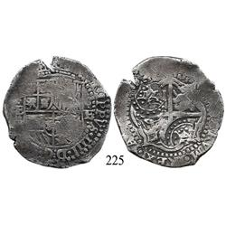 Potosí, Bolivia, cob 8 reales, (1651-2)E, with 2 crowned-T countermarks (rare) and one crowned-L cou