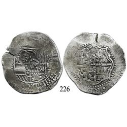 Potosí, Bolivia, cob 8 reales, (1651-2)E, with crowned-•F• (2 dots) and crown-alone countermarks on