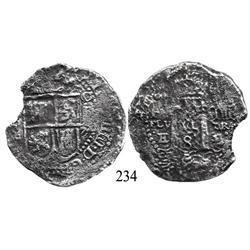 Potosí, Bolivia, cob 8 reales, 1652E transitional Type IV/A.