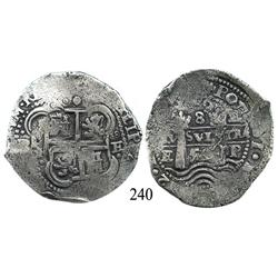 Potosí, Bolivia, cob 8 reales, 1652E (post-transitional).