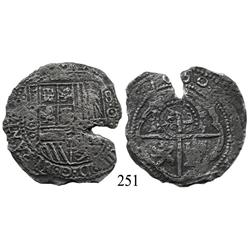 Potosí, Bolivia, cob 8 reales, 1650O, with crowned-L countermark on cross.