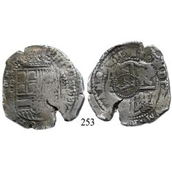 Potosí, Bolivia, cob 8 reales, 165(1)E, with rare crown-alone countermark on cross.