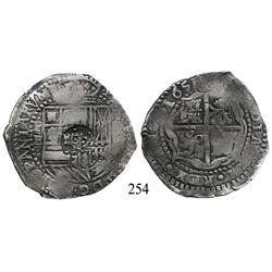 Potosí, Bolivia, cob 8 reales, 1651E, with crowned-•F• (4-dot variety) countermark on shield.