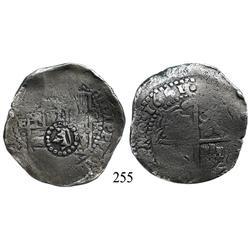Potosí, Bolivia, cob 8 reales, 1651E, with common crown-alone countermark on shield.