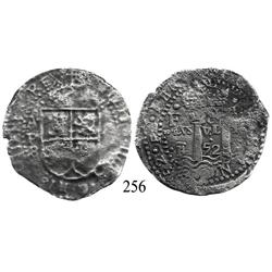 Potosí, Bolivia, cob 8 reales, 1652E transitional Type V/A, extremely rare variant with motto as PLV