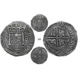 """Lima, Peru, cob 8 reales presentation strike, 1659V, """"Star of Lima,"""" rare, finest known."""