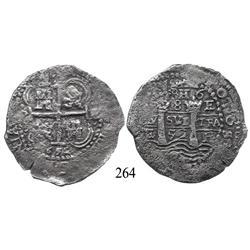Potosí, Bolivia, cob 8 reales, 1652E (post-transitional).