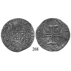 Evora, Portugal, 400 reis, John IV, with Brazilian 500-reis countermark (1663), rare.